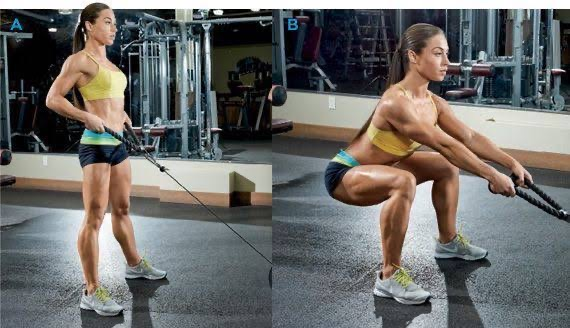 cable squats variation